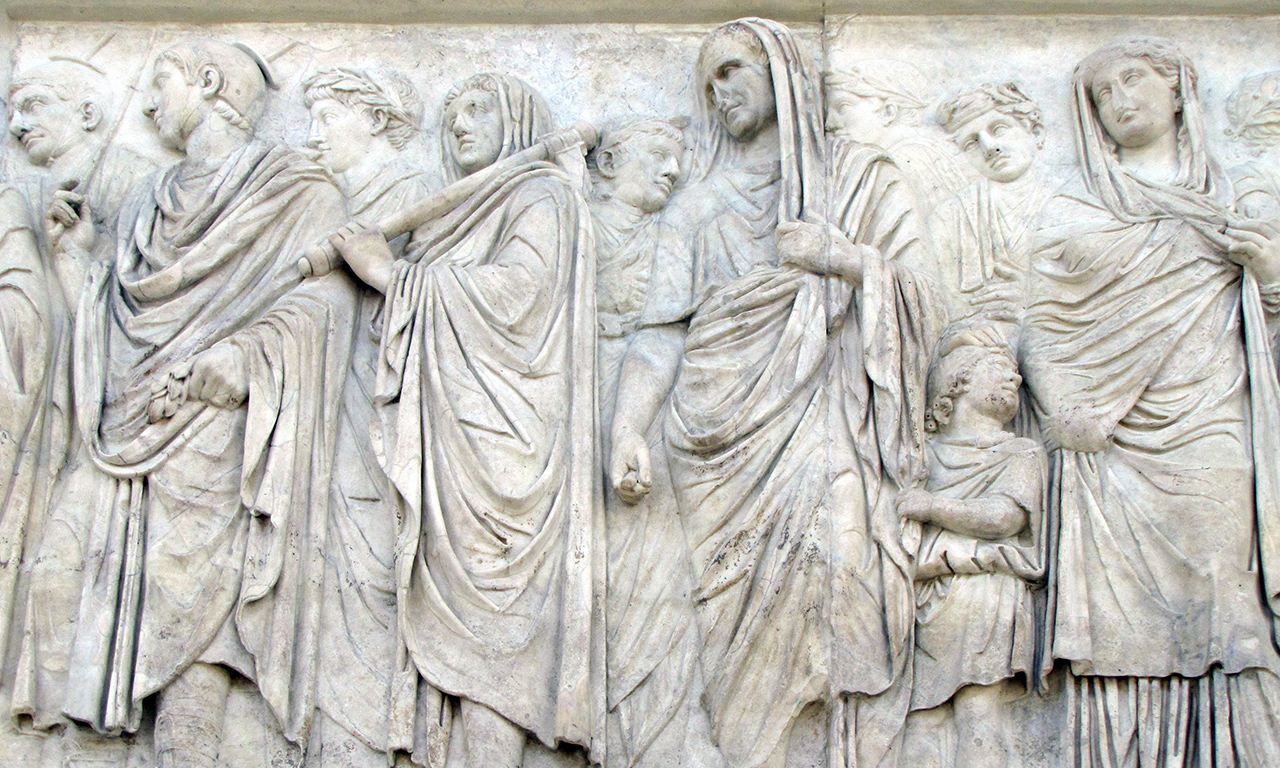 A portion of the marble procession relief from the Ara Pacis Augustae