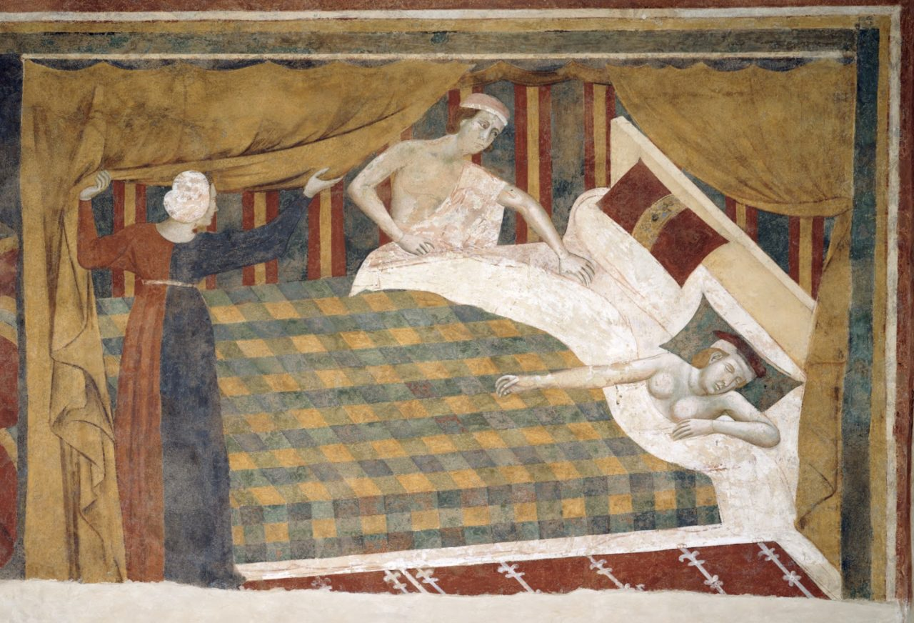 Profane love scenes: The spouses retired to bed