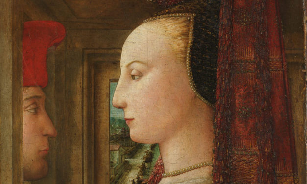 1440 – Fra Filippo Lippi, Portrait of a Woman with a Man at a Casement