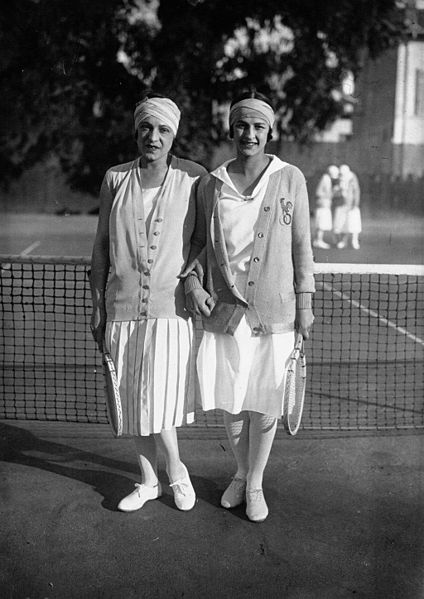 French tennis players Suzanne Lenglen and Julie Vlasto in Cannes in 1926