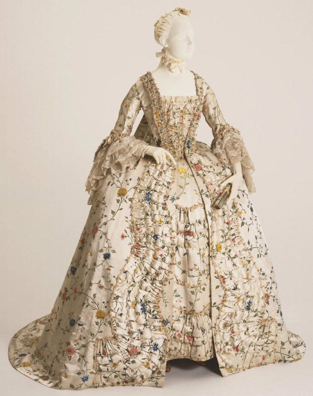 Woman's dress (Robe à la française) with Matching Stomacher and Petticoat