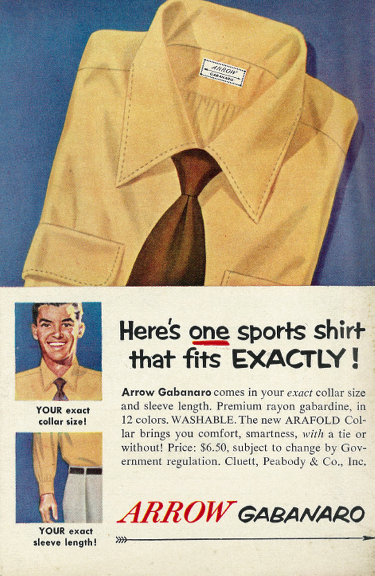 1952 Men's Fashion Ad, Arrow Gabanaro Shirt