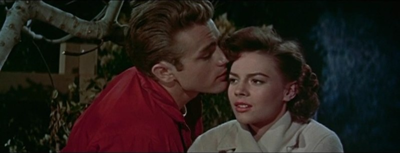 Cropped screenshot of James Dean and Natalie Wood in the trailer for the film Rebel Without a Cause