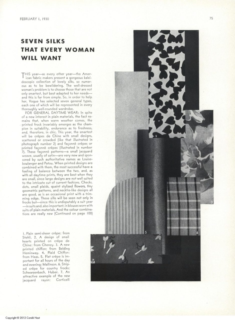 """""""Seven Silks that Every Woman Will Want"""". Vogue"""
