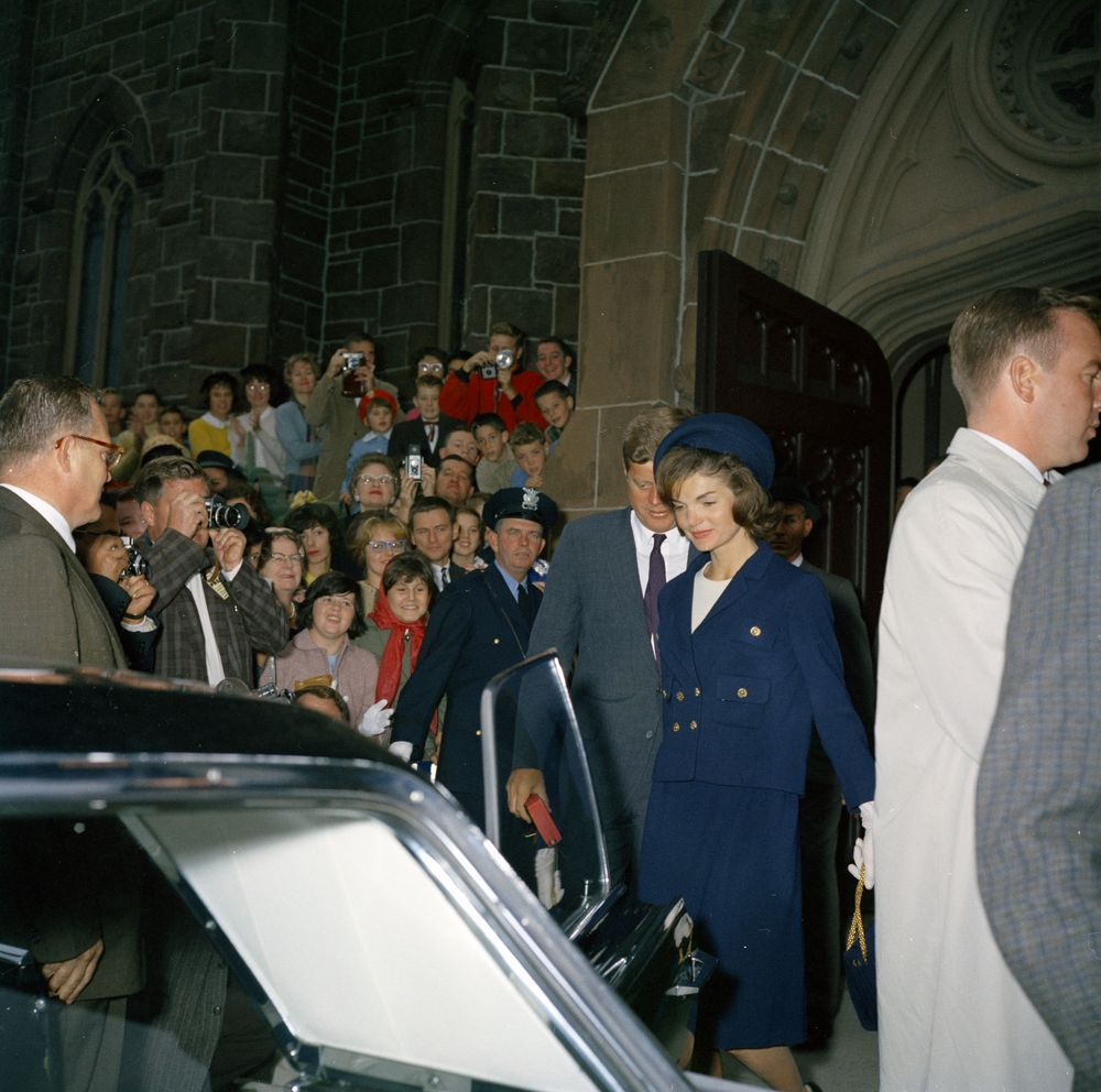 President John F. Kennedy and First Lady Jacqueline Kennedy attend Mass at St. Mary's Church, Newport, Rhode Island.