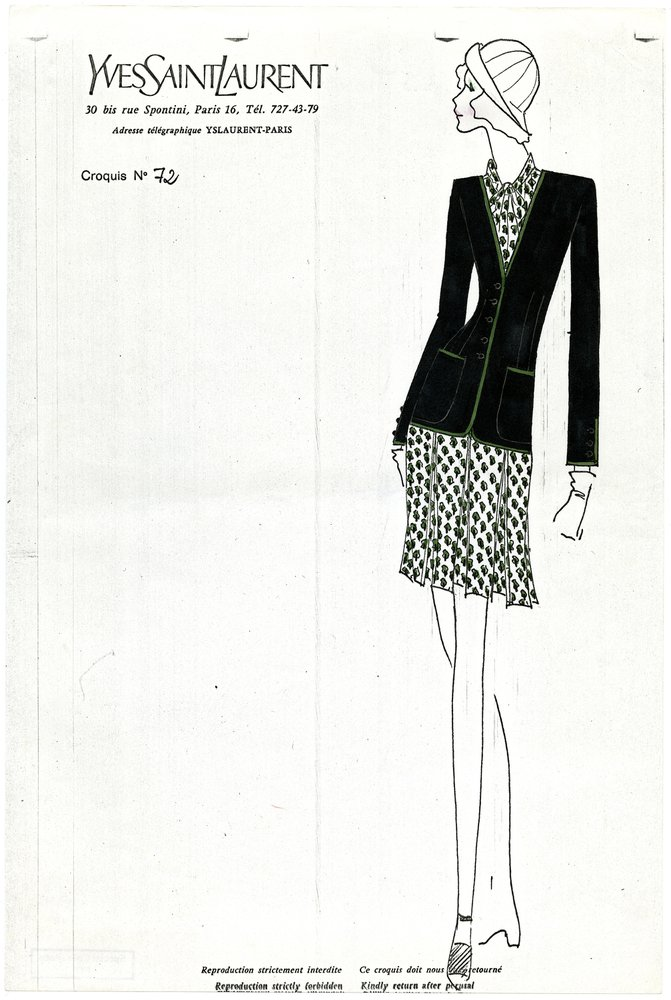 Printed, Handpainted Croquis of A Day dress and Jacket