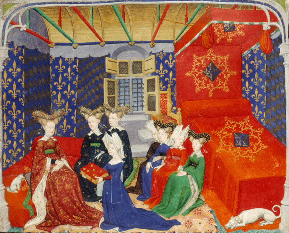 """Christine de Pizan presents a collection of her works to the Queen of France, Isabeau de Bavière,"" The Book of the Queen by Christine de Pizan"