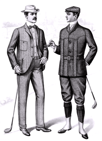 Fashion plate of men's golfing clothes, from the Sartorial Arts Journal, New York, 1901