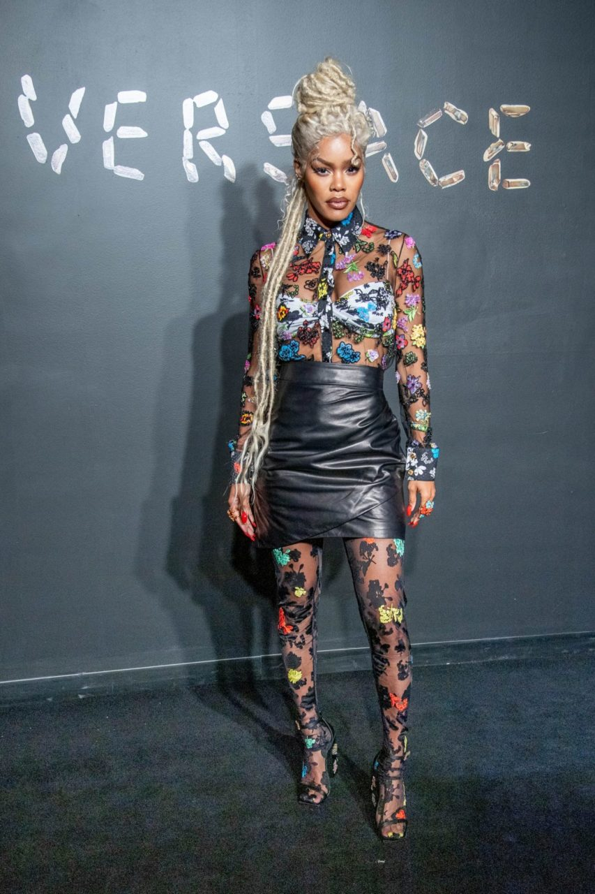 Teyana Taylor Matched Her Sheer Embroidered Blouse With Her Tights