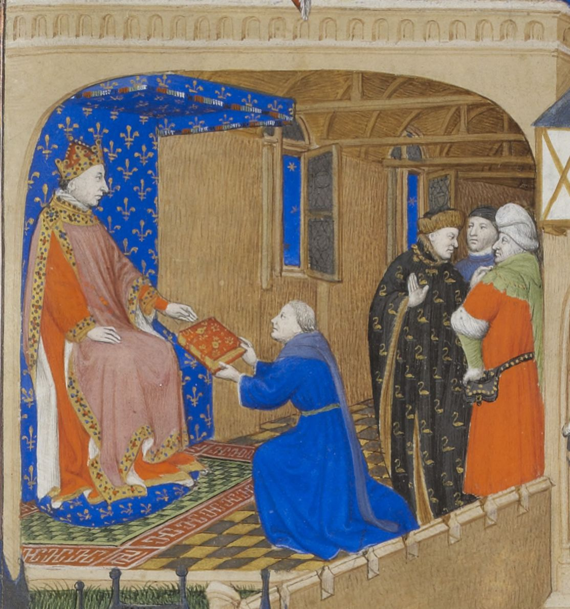 The Author Presents His Book to the King (detail)