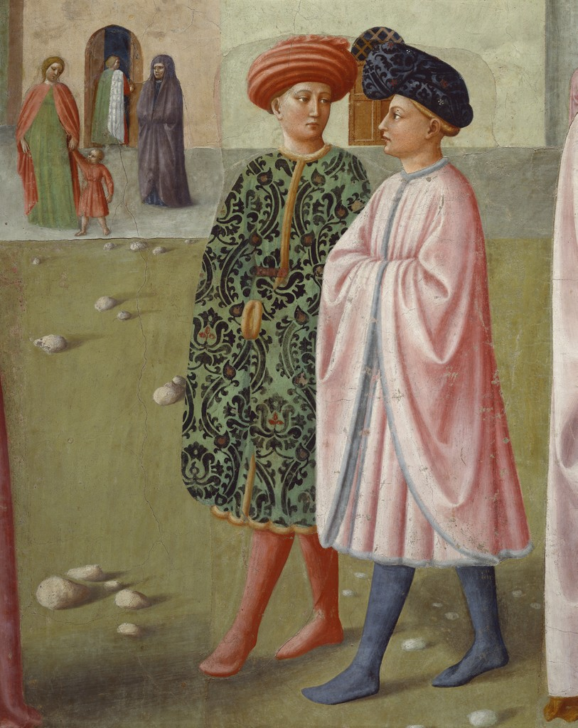 Detail of two young men, The Healing of the Cripple, from Scenes from the Life of St. Peter