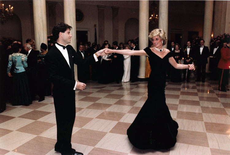 Princess Diana dancing with John Travolta in the entrance hall at the White House.