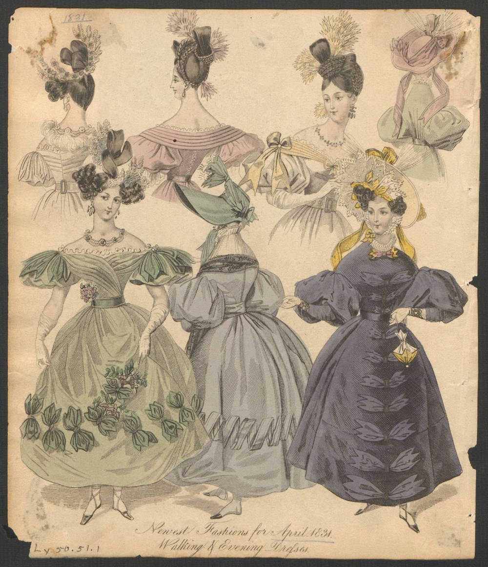 Newest Fashions for April 1831: Walking and Evening Designs