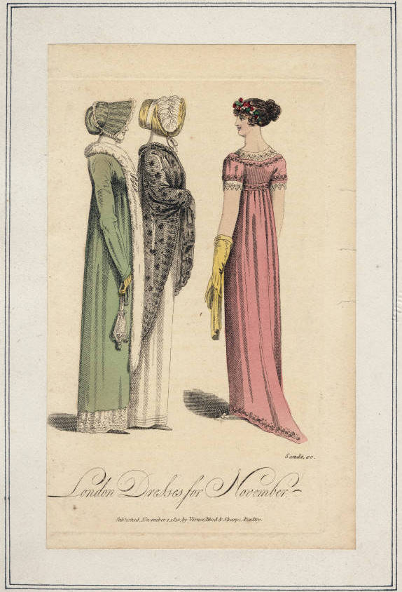 "Fashion Plate: ""London Dresses for November"" for ""Ladies' Museum"""