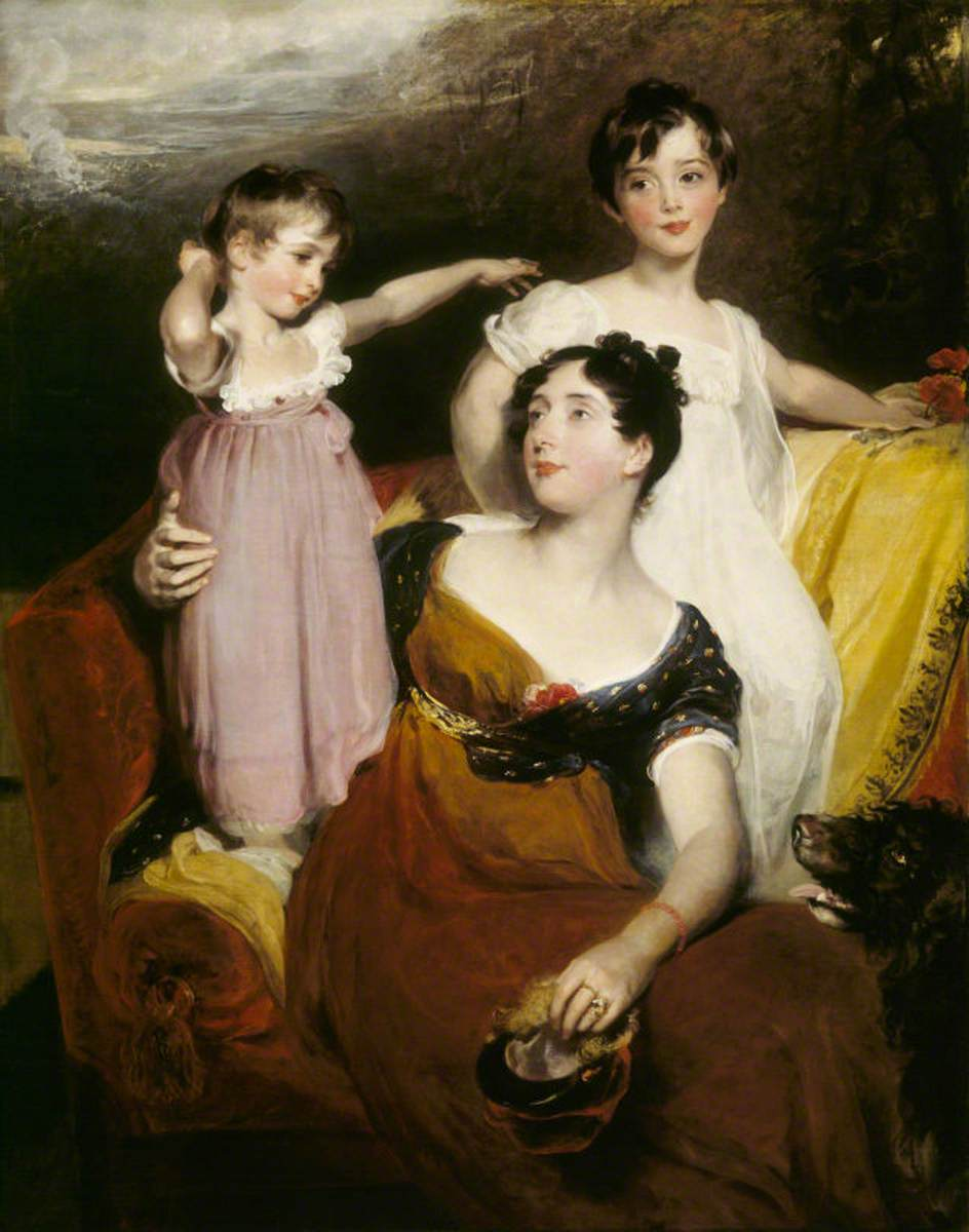 Lydia Elizabeth Hoare, Lady Acland, with Her Two Sons, Thomas, Later 11th Bt, and Arthur
