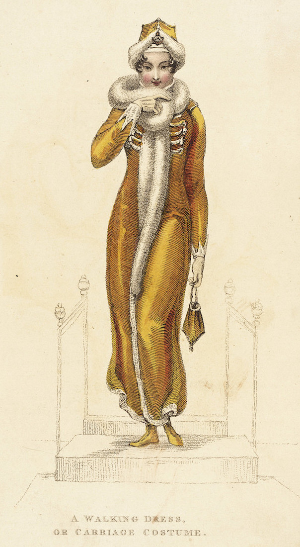 "Fashion Plate: ""Walking dress or Carriage Costume"" for ""The Repository of Arts"""