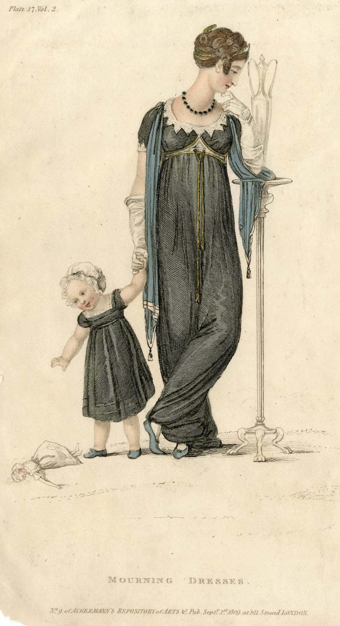 "Fashion Plate: ""Mourning dress"" for ""Ackermann's Repository"""