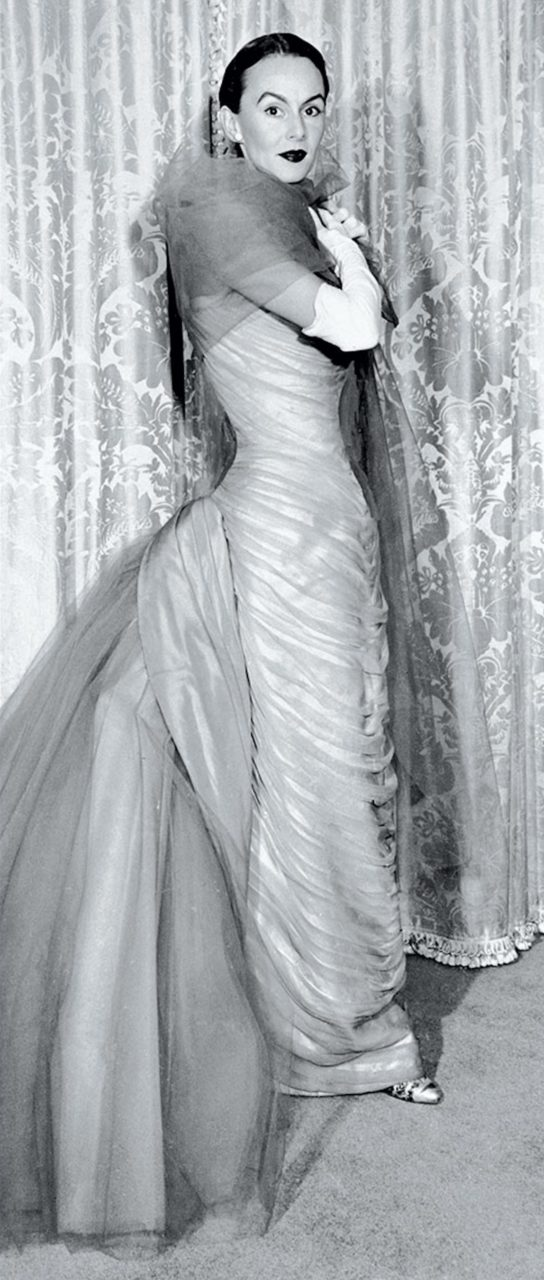 """Austine Hearst wearing a """"Butterfly"""" gown by Charles James"""