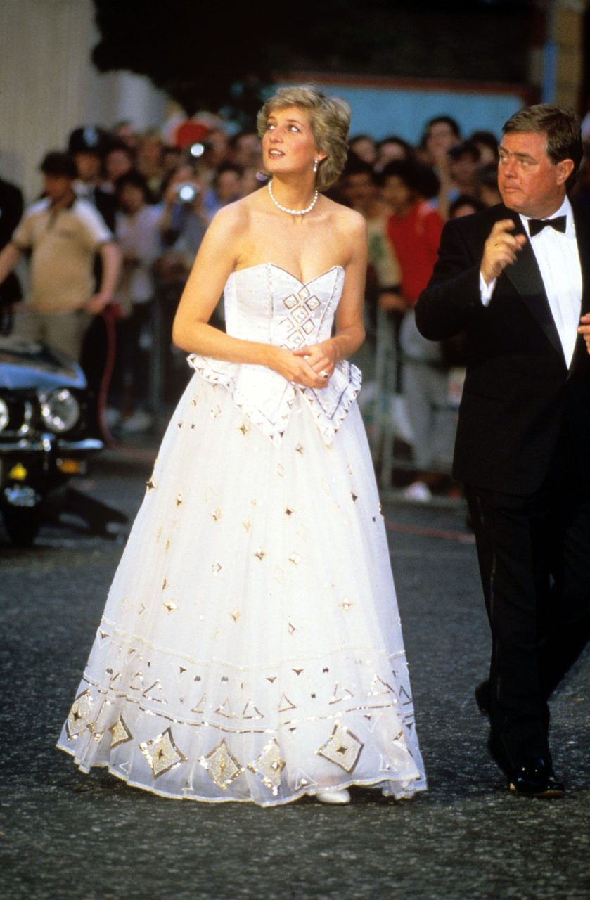 Diana, Princess of Wales attends the premiere of the James Bond film 'The Living Daylights' in London wearing an Emanuel dress