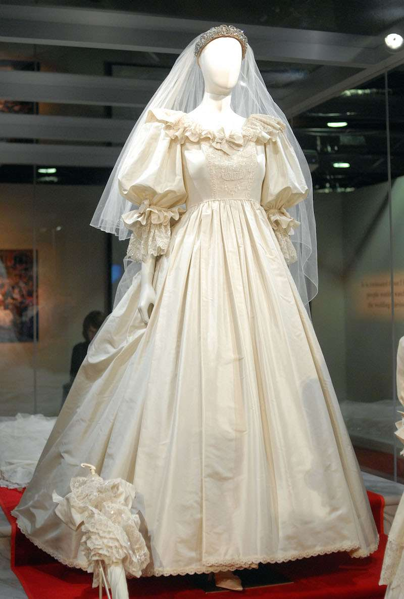 "Princess Diana's wedding gown is displayed at a preview of the traveling ""Diana: A Celebration"" exhibit at the National Constitution Center in Philadelphia, Pennsylvania"