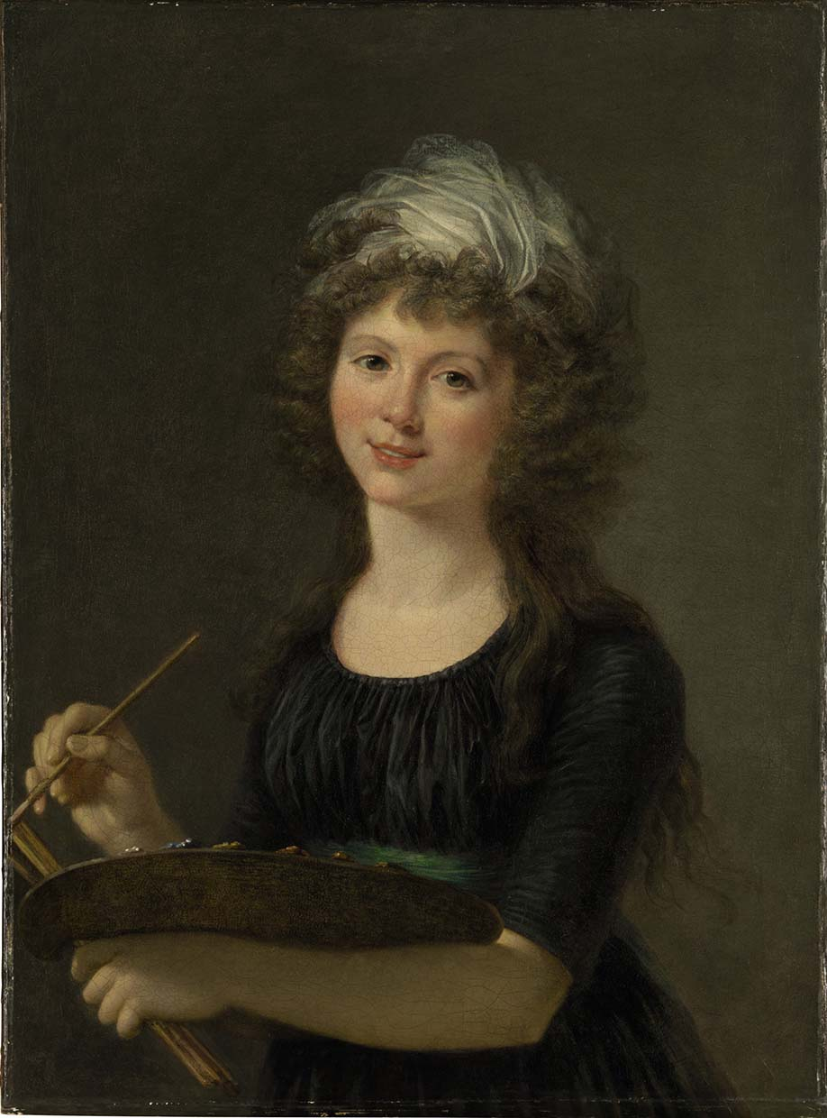 Portrait of the artist, three-quarter-length, holding a palette and brushes