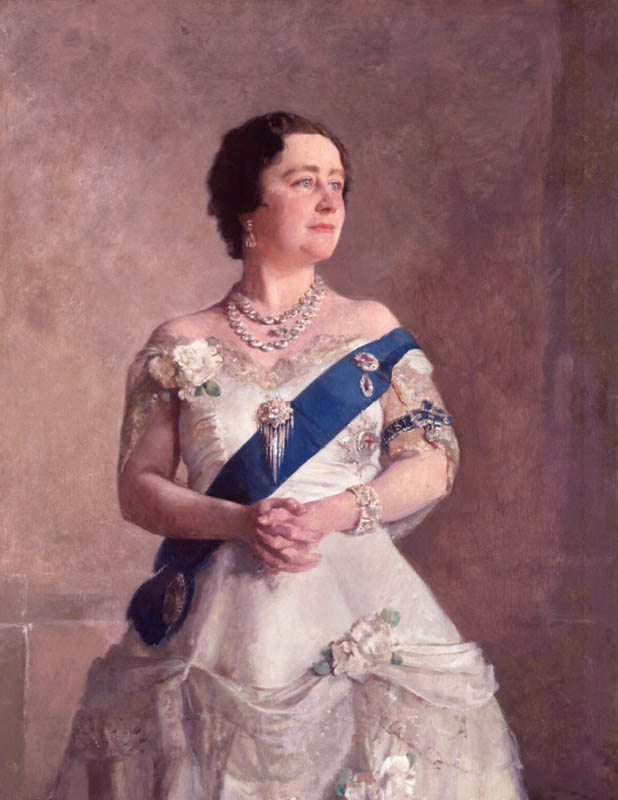 Queen Elizabeth, Queen Mother, in a dress designed by Norman Hartnell
