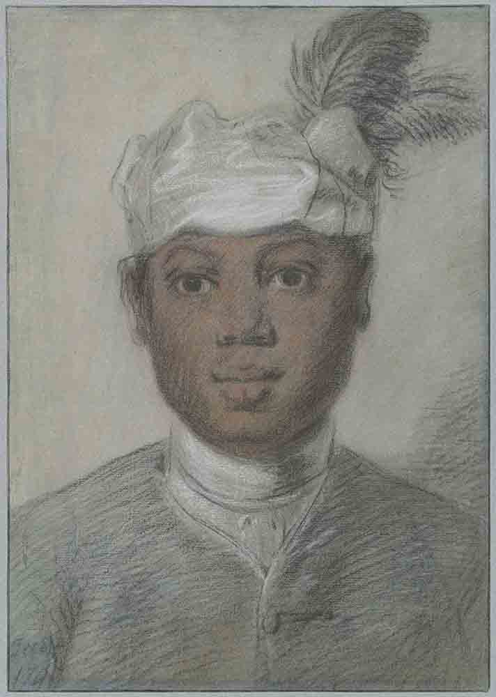 Head of a black young man with feathered turban