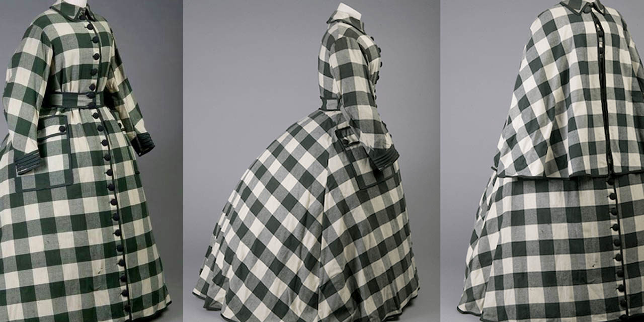 1862 – Elizabeth Keckley, Green plaid day dress