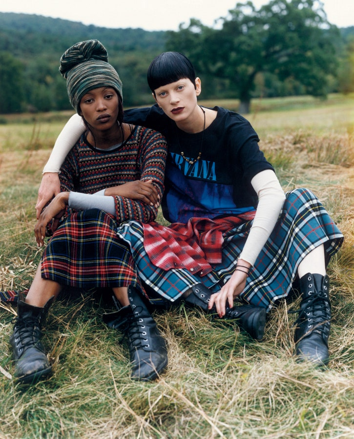 Naomi Campbell and Kristen McMenamy in Perry Ellis