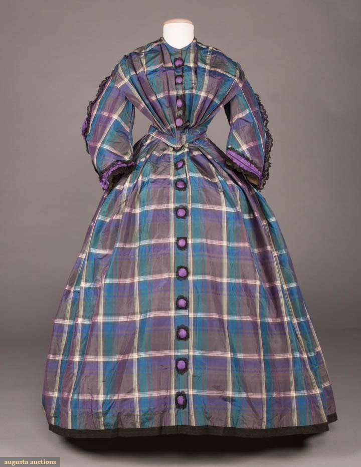 Blue & Purple Silk Plaid Day dress