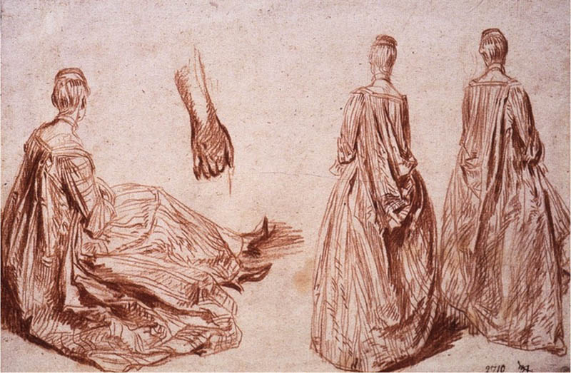 Three Studies of a Woman, Seated and Standing, and Study of a Hand