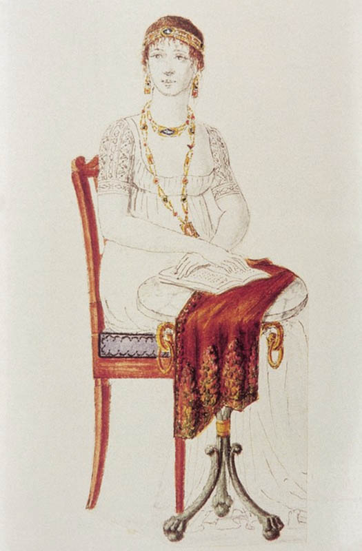 Fashion Plate Showing a Woman in Empire Period dress and Jewelry